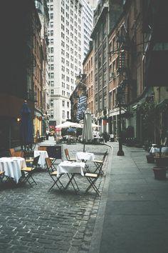 diner, restaurant, rue piétonne, romantique, été new york
