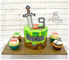 minecraft - Cake by Hopechan Pastel Minecraft, Bolo Minecraft, Minecraft Cupcakes, Minecraft Sword, Minecraft Birthday Cake, 6th Birthday Cakes, Minecraft Party, Sword Cake, Mothers Day Cakes Designs