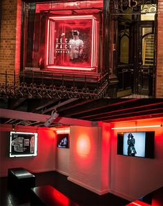Nike Sportswear concept space in London named Tech Pack Armoury | visual merchandising inspiration | neon lights, neon lightning