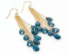 Teal Moss Kyanite earrings - Gold filled tassel earrings with Kyanite gemstones, Blue gemstones dangle earrings, Handmade Jewelry