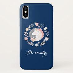Blue & Blush Personalized Unicorn iPhone X Case