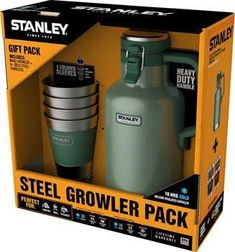 Stanley Classic Vacuum Growler and Set of 4 Stacking Tumblers/Pint Glass: Hammertone Green, 64oz