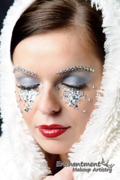 This ice princess design is the work of Enchantment Makeup Artistry. I love the sparkle, and the Christmas red lips!
