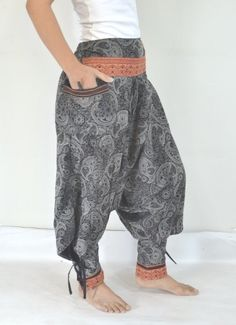Thai Harem Black Stripes Pant/Hmong by Lannaclothesdesign Thailand Fashion, Striped Pants, Black Stripes, Harem Pants, Trending Outfits, Sleeping Beauty, How To Wear, Etsy, Stripped Pants