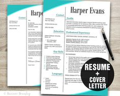 Teacher Resume Template Word / Cover Letter by BusinessBranding, $15.00