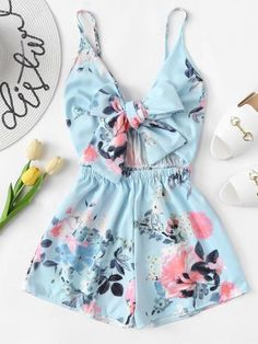Women's V-Neck Casual Sleeveless Tie Front Floral Print Cami Romper Teen Fashion Outfits, Girly Outfits, Outfits For Teens, Girl Fashion, Miami Outfits, Fashion Women, Fashion Styles, Fashion Boots, Fashion Black