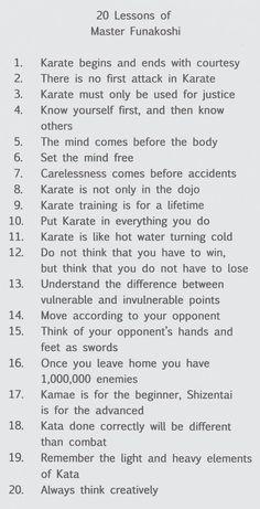 Gichin Funakoshis Twenty Percepts Translation