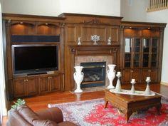 Flat TV Screen Along With Fascinating Fireplace Surround Design . Fireplace Bookshelves, Bedroom Fireplace, Living Room With Fireplace, Tv Fireplace, Bookshelf Wall, Fireplace Ideas, Fireplaces, Contemporary Fireplace Designs, Flat Tv