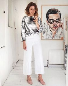 5 Casual-Cool Ways to Wear a Striped T-Shirt for Spring — White Wide-Leg Jeans and Suede Black Heels
