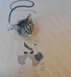 ダンボール猫アート07