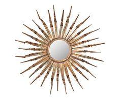 Specchio in ferro e vetro e legno Sebastian, 84x84x9 cm