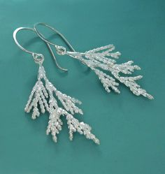 Juniper Branch Earrings Sterling Silver Long Dangle by esdesigns