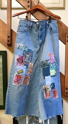 This is a one of a kind Jean Skirt, made with recycled clothing, lots of patchwork and unfinished edges. So very comfortable and easy to slip on go anywhere, shabby chic, popular style. Distressed casual fun refashioned wearable art. Great piece to add your own touches to! A piece