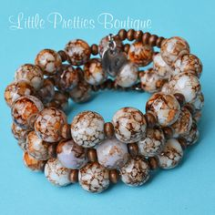 Neutral Tones Beaded Bracelet Memory Wire by LittlePrettiesBoutiq