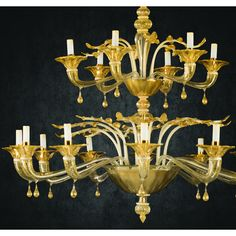 Murano glass chandelier Abate Zanetti model SAMÌS in crystal glass, ivory and glossy gold plated.