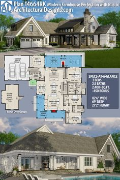 Architectural Designs House Plan 14664RK gives you 3BR, 2BA and over 2,400 sq. ft. of heated living space PLUS a bonus space over the garage. Ready when you are. Where do YOU want to build? #14664rk #adhouseplans #architecturaldesigns #houseplan #architecture #newhome #newconstruction #newhouse #homedesign #dreamhome #dreamhouse #homeplan #architecture #architect #housegoals #Modernfarmhouse #Farmhousestyle #farmhouse