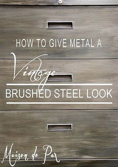 Update an old filing cabinet with this diy tutorial on how to give metal a brushed steel look. Furniture Projects, Furniture Makeover, Diy Furniture, Diy Projects, Trendy Furniture, Repurposed Furniture, Office Furniture, Furniture Design, Do It Yourself Furniture