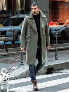 ロングPコートは、襟立て&ブーツイン等の小技でこなす!