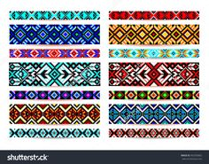 Trendy, Contemporary Ethnic Seamless Pattern, Embroidery Cross, Squares, Diamonds, Chevrons. Beads, Bracelet, Ribbon, Lace, Bead Weaving. Illustration vectorielle libre de droits 403350802 : Shutterstock