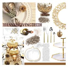 """""""Gold Thanksgiving"""" by southernpearldesigns ❤ liked on Polyvore featuring interior, interiors, interior design, home, home decor, interior decorating, Kim Seybert, NKUKU, Pier 1 Imports and Ethan Allen"""