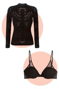 Layering sheer and solid black pieces is glamorous in an Old Hollywood boudoir kind of way.  Versace Intarsia Effect Sweater, $695; FarFetch.com  La Perla Bra with Mesh Detail, $205; StyleBop.com