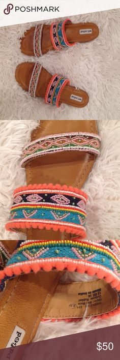 💝🎉Not rated  spiral women's sandal multicolored NWOT. This sandal is multicolored, beaded, size 8,5, Open to any reasonable offer🌺 Not Rated Shoes Sandals