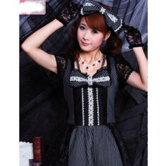 Black Pinstripe Short Sleeve Gothic Lolita Fashion Dress + Headpiece SKU-11402123