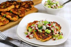 Paleo Salmon Fish Cakes with Radish & Celery Salsa | Eat Drink Paleo