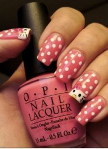 Pink Hello Kitty Nail Art