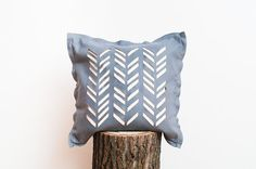 Pillow Cover / Geometric White Grey Pillow Cover / by WoollyClouds