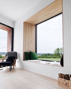 Hands down, my favourite window seat of all time. The green cushions bring the view into the house with the perfectly framed window seat. Modern Interior Design, Interior Architecture, Interior Ideas, Luxury Interior, Design Interiors, Windows Architecture, Contemporary Interior, Modern Contemporary House, Modern Interior Doors