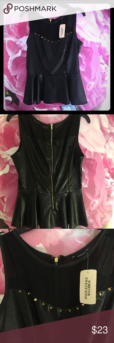 black pleather gold studded&gzip per back peplum Brand new size small new with tags . Forever 21 Tops