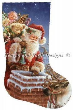 Santa cross stitch stocking. Christmas.