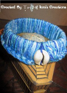 Colors of Auset Thick Blue Bangle with Cowry by IonisCreations, $14.00