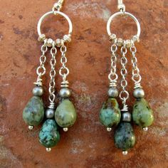 Ethnic African Turquoise Earrings Silver by IsleofSkyeJewelry