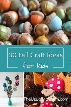 30 Fall Crafts for Kids Celebrate fall with these fun fall craft ideas for kids. 30 to choose from so you're sure to find something you love! All ages and skill levels. Autumn Activities For Kids, Fall Crafts For Kids, Craft Activities, Preschool Crafts, Kids Crafts, Toddler Crafts, Autumn Art Ideas For Kids, Fall Preschool, Nature Activities