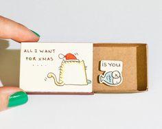 Funny Love Christmas Card/ Cat Christmas Greeting Card/ por shop3xu