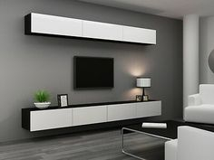 The Best 2019 Interior Design Trends - Interior Design Ideas Living Room Wall Units, Living Room Tv Unit Designs, Tv Wall Unit Designs, Bedroom Tv Unit Design, Living Rooms, Tv Unit Decor, Tv Wall Decor, Wall Mounted Tv Unit, Modern Tv Wall Units