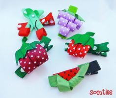 Cherry, Raspeberry, Grapes, Strawberry and Watermelon Ribbon Sculpture Hair Clips