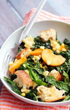 Kale Salad with Peaches, Corn, and Basil-Honey Vinaigrette