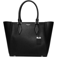 Michael Kors Collection Gracie Large Pebbled Leather Tote (17.916.920 IDR) ❤ liked on Polyvore featuring bags, handbags, tote bags, apparel & accessories, black, black tote, pebbled leather handbag, zip top tote bag, accessories handbags and michael kors purses