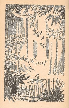 moomin art by Tove Jansson Art And Illustration, Black And White Illustration, John Kenn, Moomin Valley, Tove Jansson, Gravure, Conte, Art Inspo, Painting & Drawing