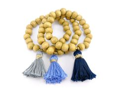 Boho Wood Tassel Bracelet Wooden Beads With Blue Gray by Donasy, $15.60