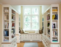 Window Seat Ideas and Reading nook. Love the shelves of books.