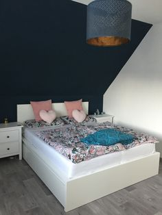 Cosy bedroom with dark blue side. I love pure design with white furniture and color details. In this case I choose the dark blue💙