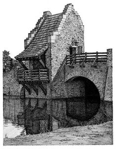 "*Pencil Sketch - ""Thunderhouse and bridge in Blount Cultural Park, Montgomery, AL."" by Melissa Tubbs"