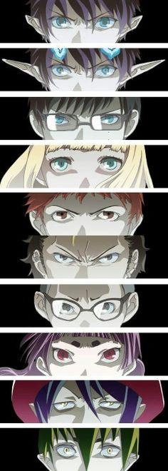 Blue Exorcist characters eyes, Rin, demon Rin, Yukio, Shiemi, Shima, Bon, Suguro, Konekomaru, Izumo, Mephisto, Amaimon; Blue Exorcist