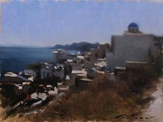 """Daily Paintworks - """"Oia, Santorini"""" by Phil Couture"""