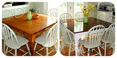 DIY kitchen table refresh: White legs and stained top