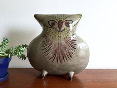 Large Tonala Owl Sculpture / Very Large Mexican Tonala Owl Figurine / Mid Century Boho Ceramic Owl Decor Piece / Pedestal Owl Art 10.5 Tall  This is